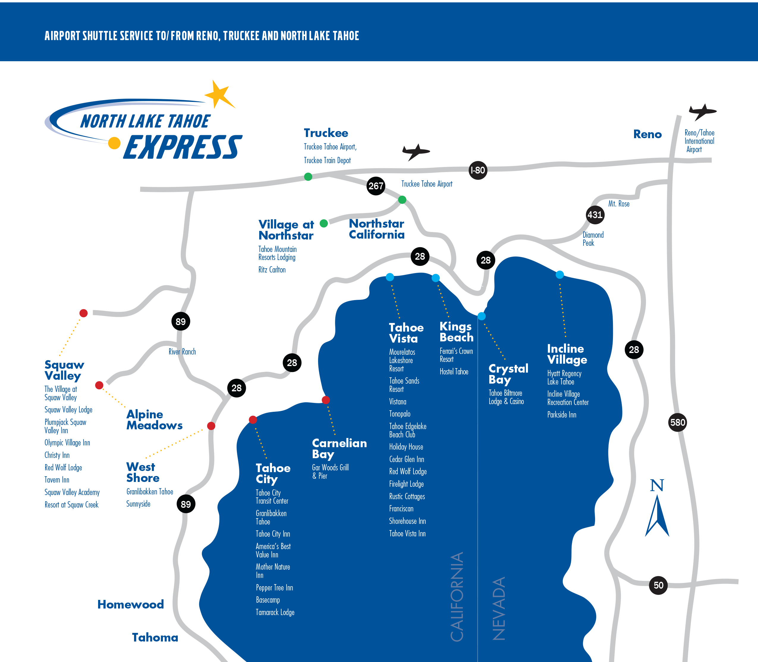 Routes Schedule North Lake Tahoe Express - Map of reno and lake tahoe